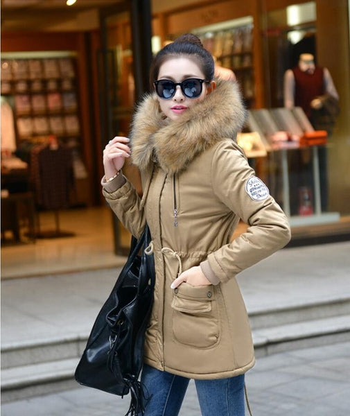 2017 women winter coat wadded jacket medium-long plus size 4XL Parka fur collar thickening hood abrigos female snow wear