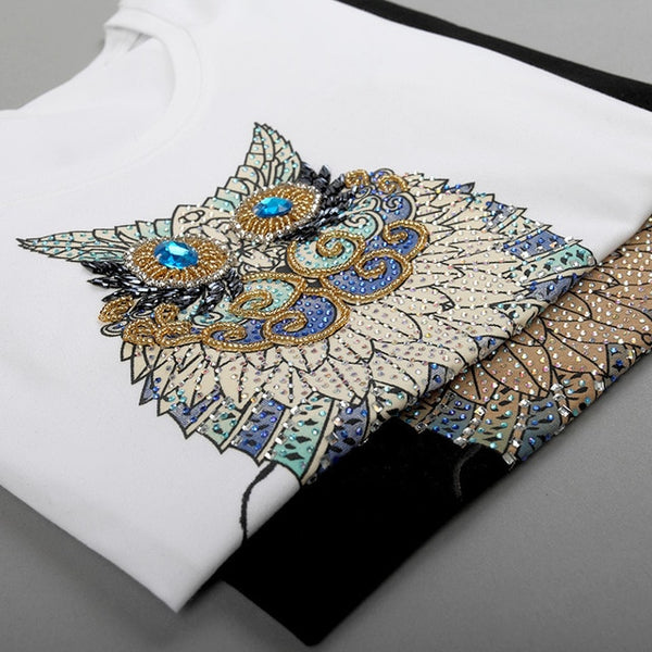 2020 Fashion Vintage Summer T Shirt Women Clothing Tops Beading Diamond Sequins Animal Owl Print T-shirt Woman Clothes plus size