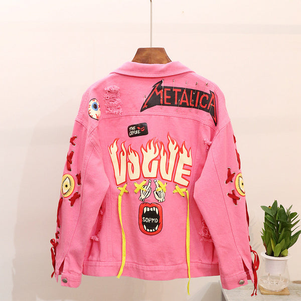 2020 Heavy Industry Graffiti Printing Pin-pierced Denim Jacket Lady's Punk Style Pink / Yellow Denim Jacket Holes Jeans Coats