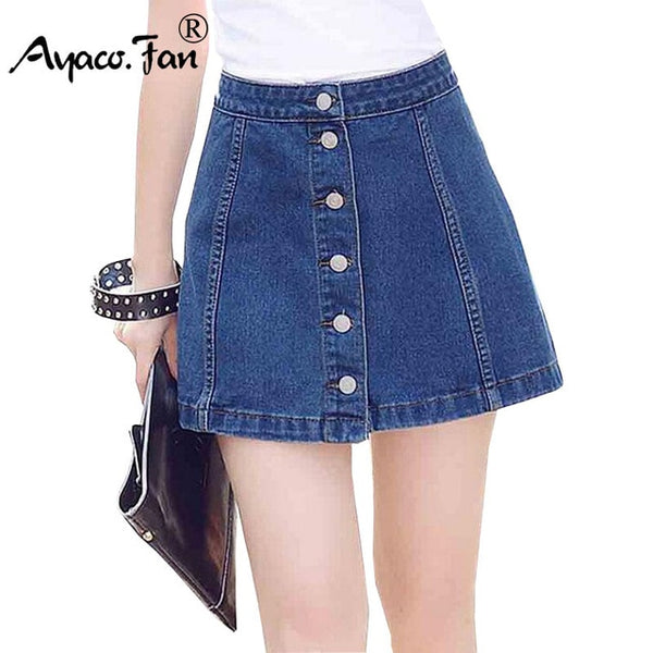 6575447a0 2018 New Casual Women Summer Saias Plus Size Jeans Skirt Ladies Cotton  Denim Long Jean Pencil A-Line Above Knee Skirts Femininas