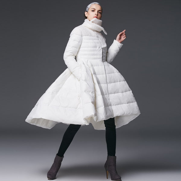 2020 New Fashion Winter Women's Skirt Down Jacket  Female High-end Brand White Duck Down Coat