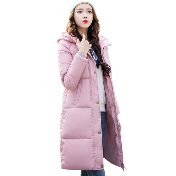 2018 New Solid Winter Jacket Women Hooded Coat Cotton Padded Parkas Long Warm Sweat Girls Cold Outwear Female Down Jacket M-3XL