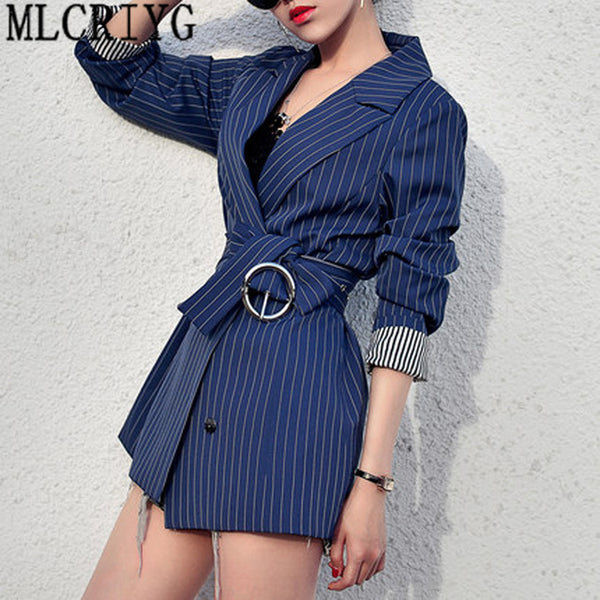 2020 New Spring Autumn Women Black Striped Office Lady Blazer Long Sleeve Jackets Business Blazers Suit Casaco Feminino LX97