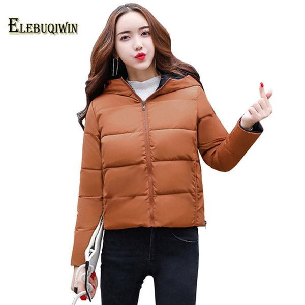 2020 New Winter Jacket Fashion Hooded Printed Double-Sided Wear Short Parka Female Coat Slim Plus Size Warm Women Outerwear L404
