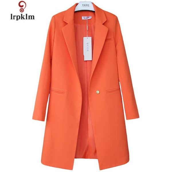 2020 New Women Spring Autumn Blazers Middle Long Solid Ladies Slim Thin Coat Women's Blazers Cloths Plus Size 3XL 9Color PQ305