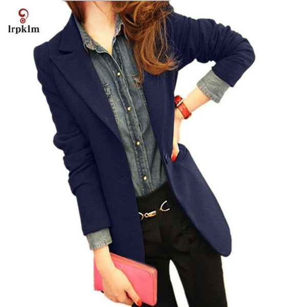 2020 New Women Spring Autumn Blazers Solid Ladies Slim Long Sleeve Thin Coat Women's Blazers Cloths Black Red Navy Blue PQ304
