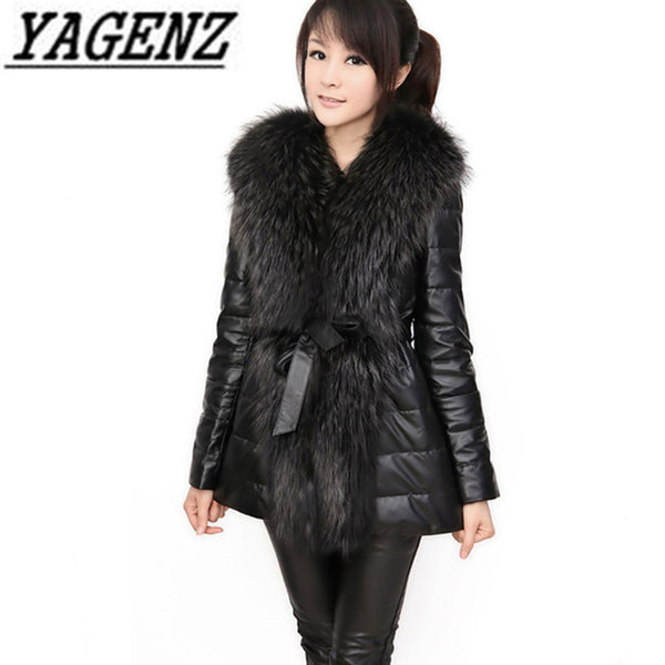 2020 New Women Winter Faux fox fur Coat Fashion Slim Medium long PU leather Jacket Large size Black Winter Ladies jacket S-6XL