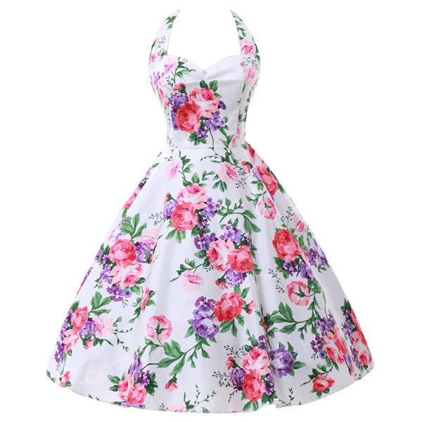 2020 Plus Size Womens clothing New Summer Style 50s Vintage pin up 60s Cocktail dresses Rockabilly Retro Floral print Party gown