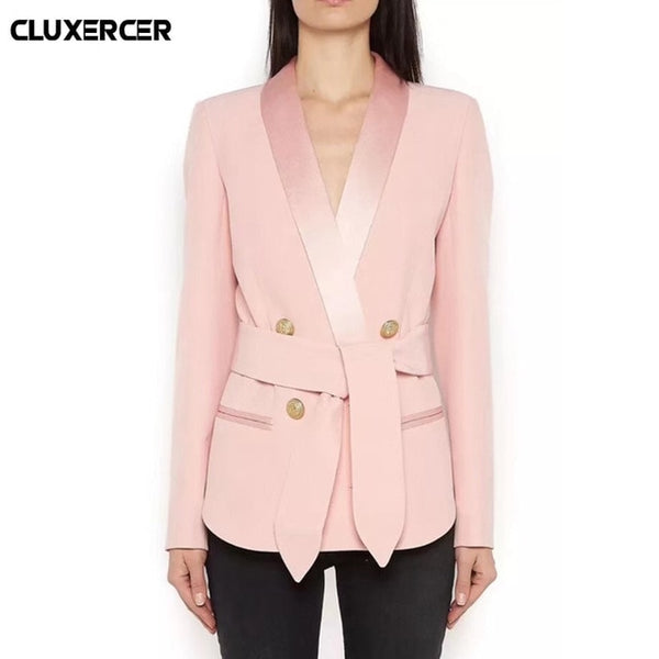 2020 Spring Autumn Solid Pink Black Office Lady Women Blazers double breasted blazer Long Sleeve Slim blazer feminino overalls
