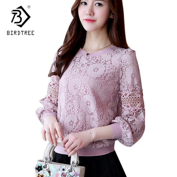 2018 Spring Women Lace Blouse Long Sleeve Fashion Blouses and Shirts Crochet Blouse Casual Female Clothing Plus Size 2XL T81901A