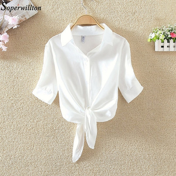 2020 Summer Blouse Shirt Solid Short Sleeve Women Casual Tops Turn Down Collar 4XL Plus Size Female Clothing Lady White Shirts