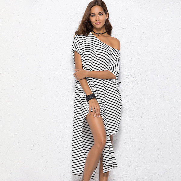 2020 Summer Irregular Stripe Sexy Beach Dress Cotton Loose Off Shoulder Split Dress Sexy Party Plus Size Oversize Women Clothes