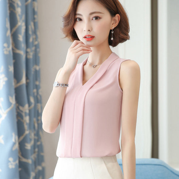 2020 Summer Korea Style Women Chiffon T Shirt Ladies Tops Female Sleeveless T Shirt White Black Pink Red Plus Size Clothing