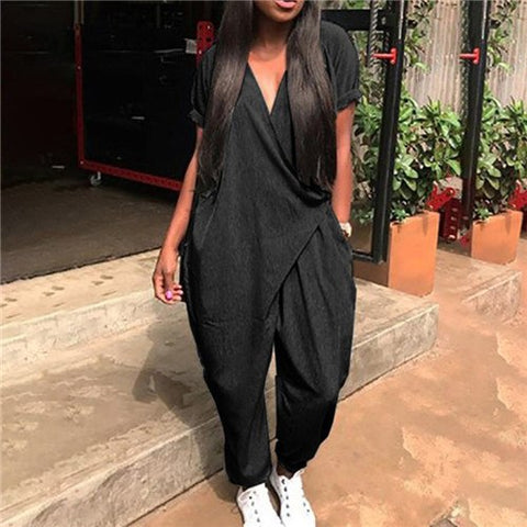c357bdd53bdb 2018 Summer Rompers Woman Loose Jumpsuits Fashion Solid V Neck Sexy Women  Playsuits Casual Women Jumpsuit