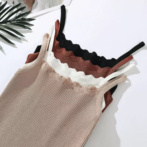2020 Summer Style Tank Tops For Women's Knitted Solid Color Crop Tops Cami Camisole Female Camisas Mujer