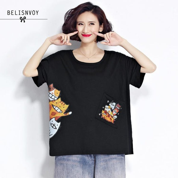 2020 Summer Style Tshirt Plus Size Ladies Cotton Tops Women Short Sleeve Cats Print T-shirt Female Oversize Clothing Tee Shirt