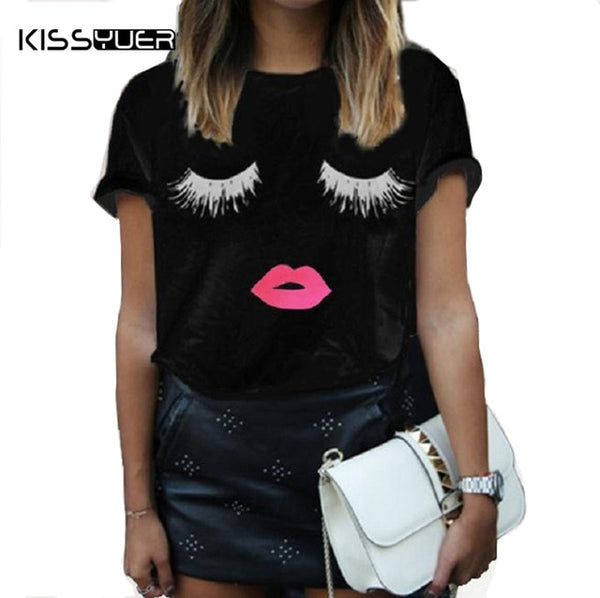 2020 Summer Tops Women Short Sleeve Loose T Shirt White Plus Size Eyelash Red Lips Print Tee Shirt Femme Black Clothes for Women
