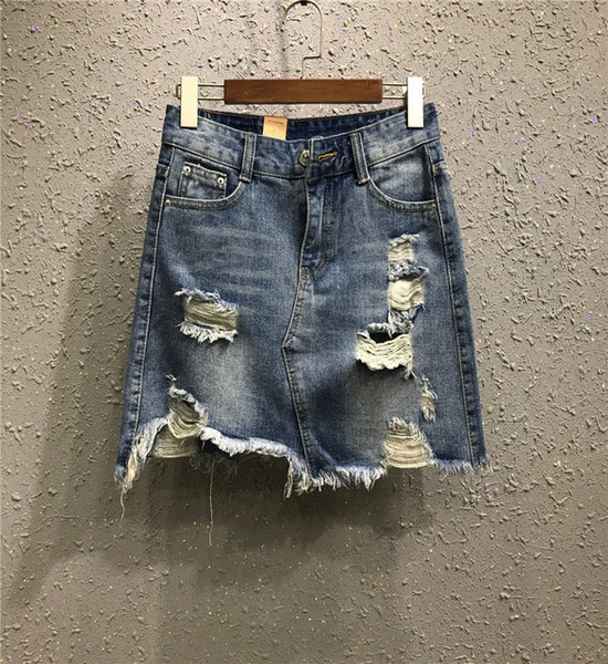 2020 Summer Women High Waist Pencil Mini Denim Skirts Vintage Sexy Hole Ripped Jeans Casual Plus Size Irregular Skirt