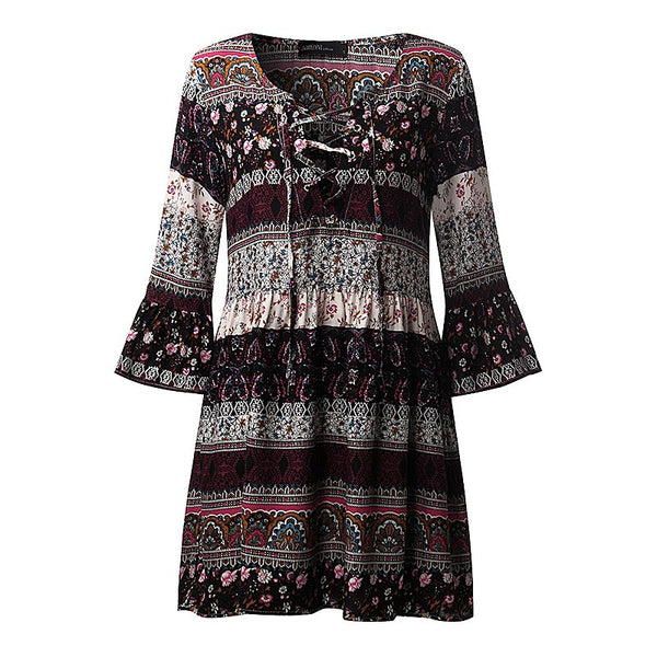 2020 Summer Women Printed Mini Dress Ladies Sexy V Neck Lace Up 3/4 Sleeve Ruffled Casual Beach Dress Vestidos Plus Size