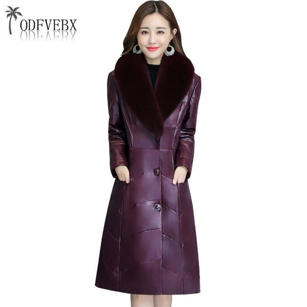 2020 Thicken Plus size Faux Fox Fur collar Women Winter Cotton Coat Padded Coat High-end Warm Leather Down Jacket Casual Parkas