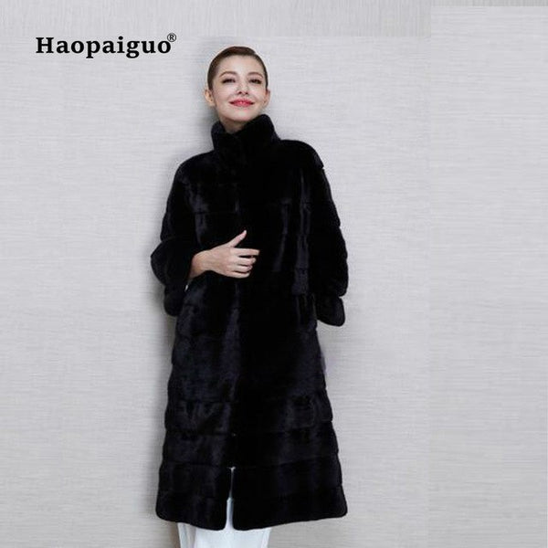 2020 Winter Black Long Faux Fox Fur Jacket Women Rex Rabbit Fur Coat Woman Warm Artifical Mink Fur Coats Female Ladies Fur Coat