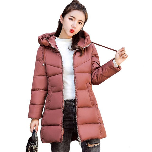 2020 Winter Jacket Women Thick Medium-Long Womens Parka Hooded Female Outerwear Coat Cotton Padded Snow Wear Plus Size 3XL D229