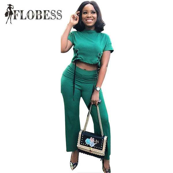 2020 Women Fashion Green 2 Piece Set Sexy Bandage Short Sleeve T Shirts + Long Pants Female Casual Suits Plus Size