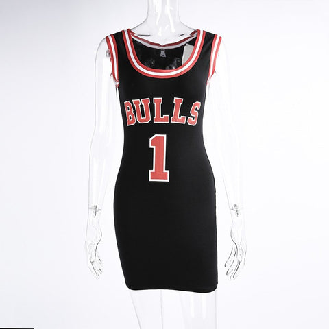 2020 Women Letter e Bulls Print Sporting Summer Dress Cut Jersey Above Knee Length Black White Red Tunic Dresses Style Vestidos