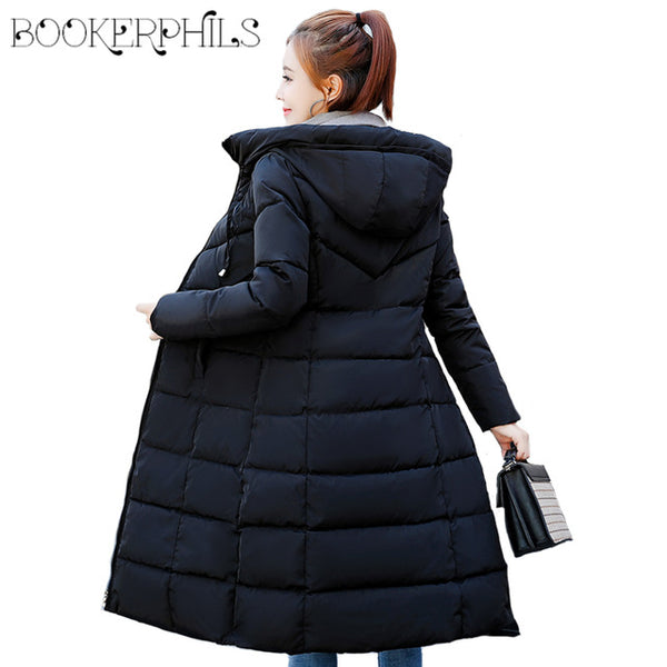 2018 Women Winter Jacket Hooded Plus Size 6XL Warm Thick Cotton Padded Coat Women Medium-long Slim Down Jacket Female Outwear