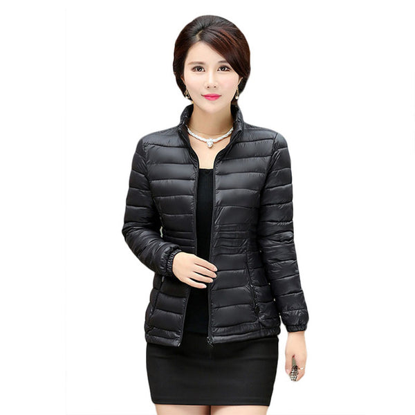 2020 Women's autumn and winter coat big yards short paragraph Slim thin section down padded cotton jacket wholesale parkas 7458