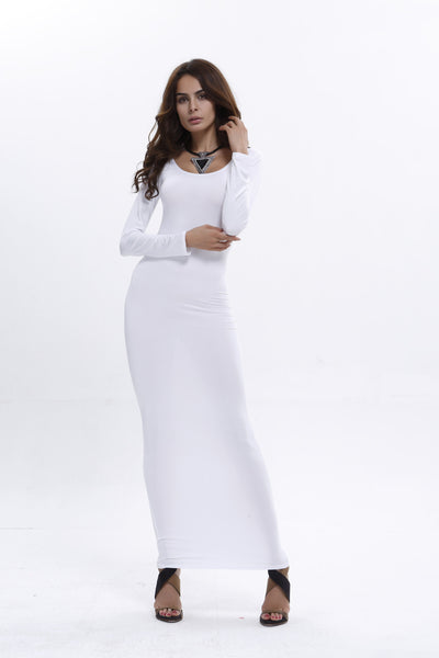 2020 Womens autumn winter white dress Elegant Vintage Pinup long Sleeve Casual Party Fit Bodycon Pencil Floor-Length Maxi Dress