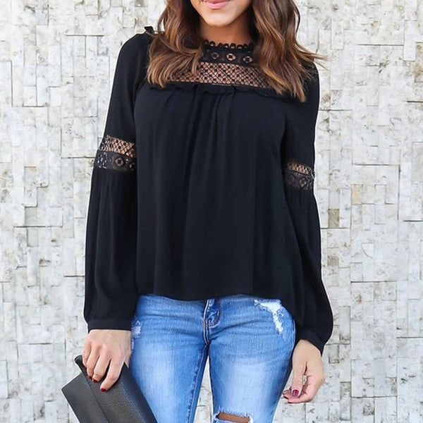 2018 ZANZEA Elegant Women Spring Lace Patchwork Long Sleeve Hollow Out Solid Ruffles OL Work Shirt Chiffon Blouse Top Plus Size
