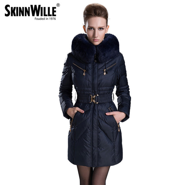 2018 fashion fur collar thickening slim women's female medium-long down coat winter outerwear female