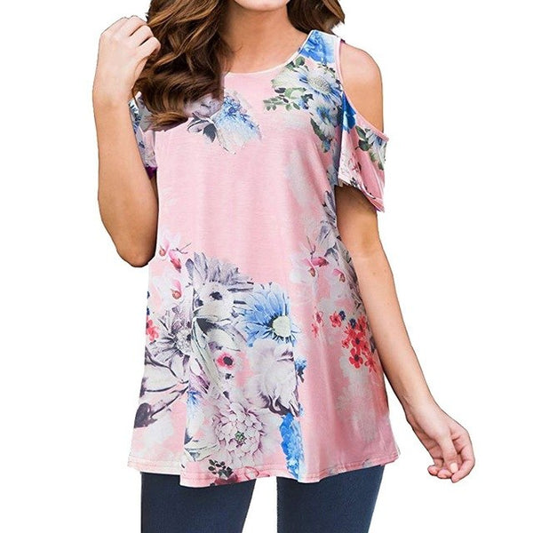 2020 new arrival Women's Short Sleeve Casual Cold Shoulder Tunic Tops Loose Blouse Shirts Pink summer women top