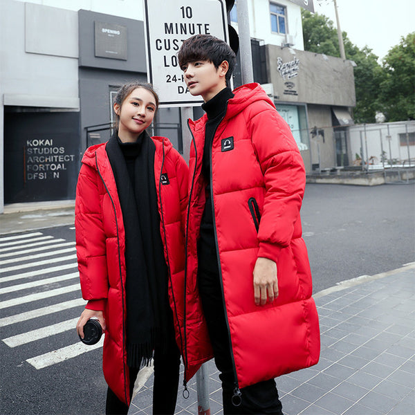 2020New Fashion Winter Couple Outfit Hooded Long Lovers Wear Coats  Plus Sizes Parkas Men Women Jacket Warm Female Male Outwears