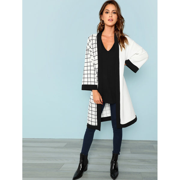 Cut and Sew Grid Print Coat