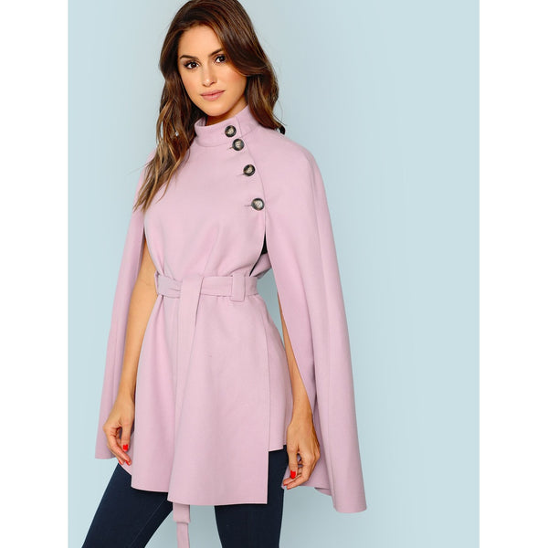 Button Front Self Belted Cape Coat