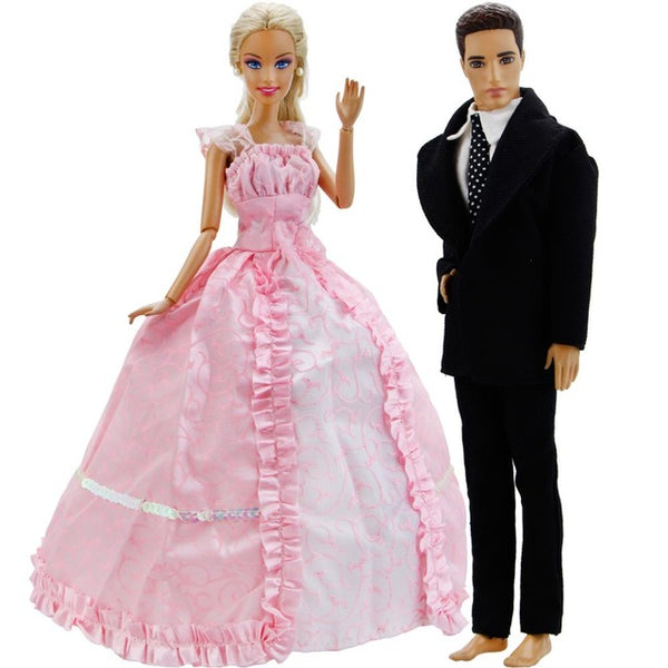 2Pcs Fashion Sweet Dress Party Dating Wear Pink Gown + Black Blazer Tie Shirt Clothes For Barbie Doll Friend Ken Accessories Toy