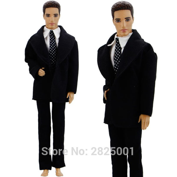 3 In 1 Formal Outfit Wedding Party Wear Blazer White Shirt Dot Tie Trousers Pants Clothes For Barbie Doll Friend Ken Accessories