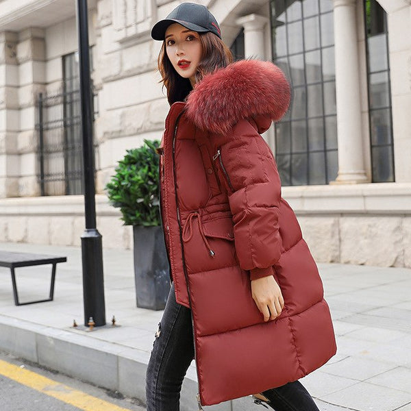 -30 degrees wear winter jacket women parkas big fur collar womenJacket Coat mujer 2020 X-long Coat Casual Solid Thick  plus size