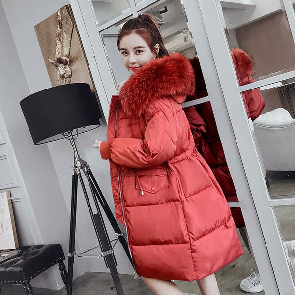 -30 degrees wear winter jacket women parkas mujer X-long Parka Coat Casual Solid Thick big fur collar Jacket Coat plus size 3XL