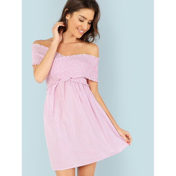Cross Wrap Frill Trim Shirred Panel Bardot Dress
