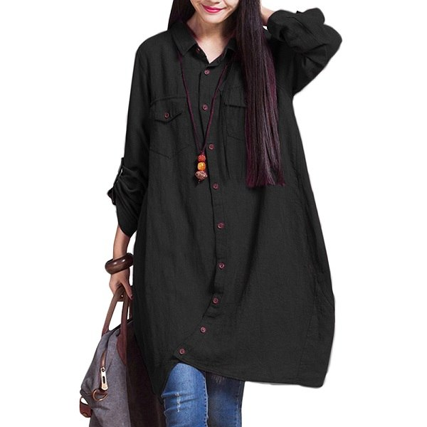 3XL 4XL 5XL Plus Size Womens Tops and Blouses Irregul Hem Buttons Loose Casual Shirts Vintage Long Tops female tunic Oversized