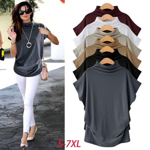 5XL 6XL Summer Tops Korean Style Women Cotton Blouse Shirt 2020 Female Solid Loose Shirt Blouse Plus Size Female Clothing
