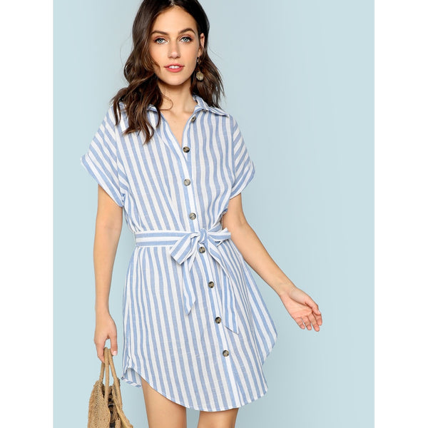 Rolled Up Sleeve Self Belted Shirt Dress