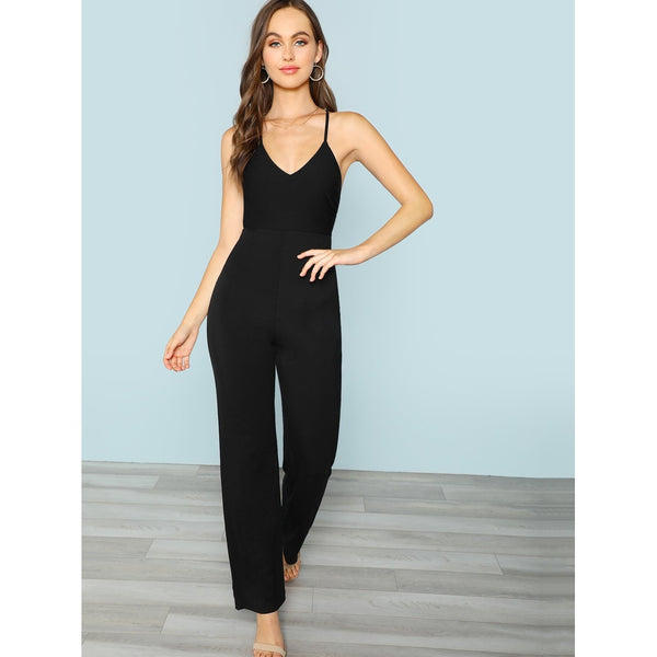 Plunging Neck Crisscross Back Jumpsuit
