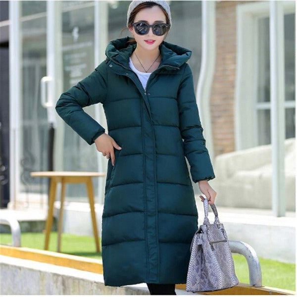 2017 New Winter Design Long Overcoat Women's Cotton-padded Jacket Plus Size Candy Color Jackets & Coats Green Black Red