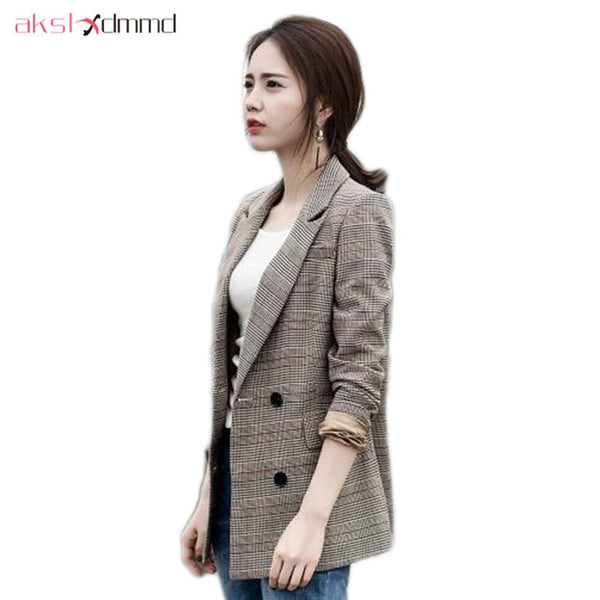 Women Casual Blazer Coat Feminino 2020 New Spring Fashion Plaid Blazers Female Jackets  LH1343