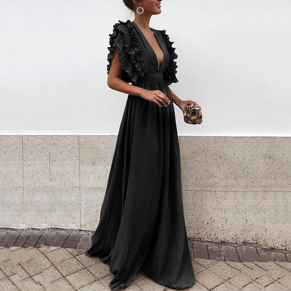 Plus Size Women Summer Autumn Dress 2018 Vintage Elegant Ruffles Sleeve Party Dresses Sexy Backless Maxi Dress Vestidos
