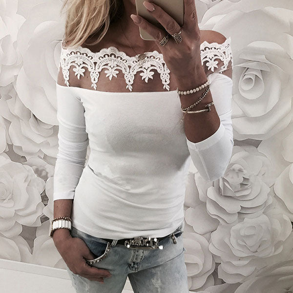 Summer Women Fashion Casual Solid Shirts Long Sleeve Slash Neck Lace Off The Shoulder Blouse